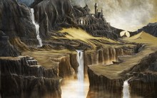 artwork  fantasy art painting digital art nature waterfall rock water cliff sculpture Home Decoration Canvas Poster