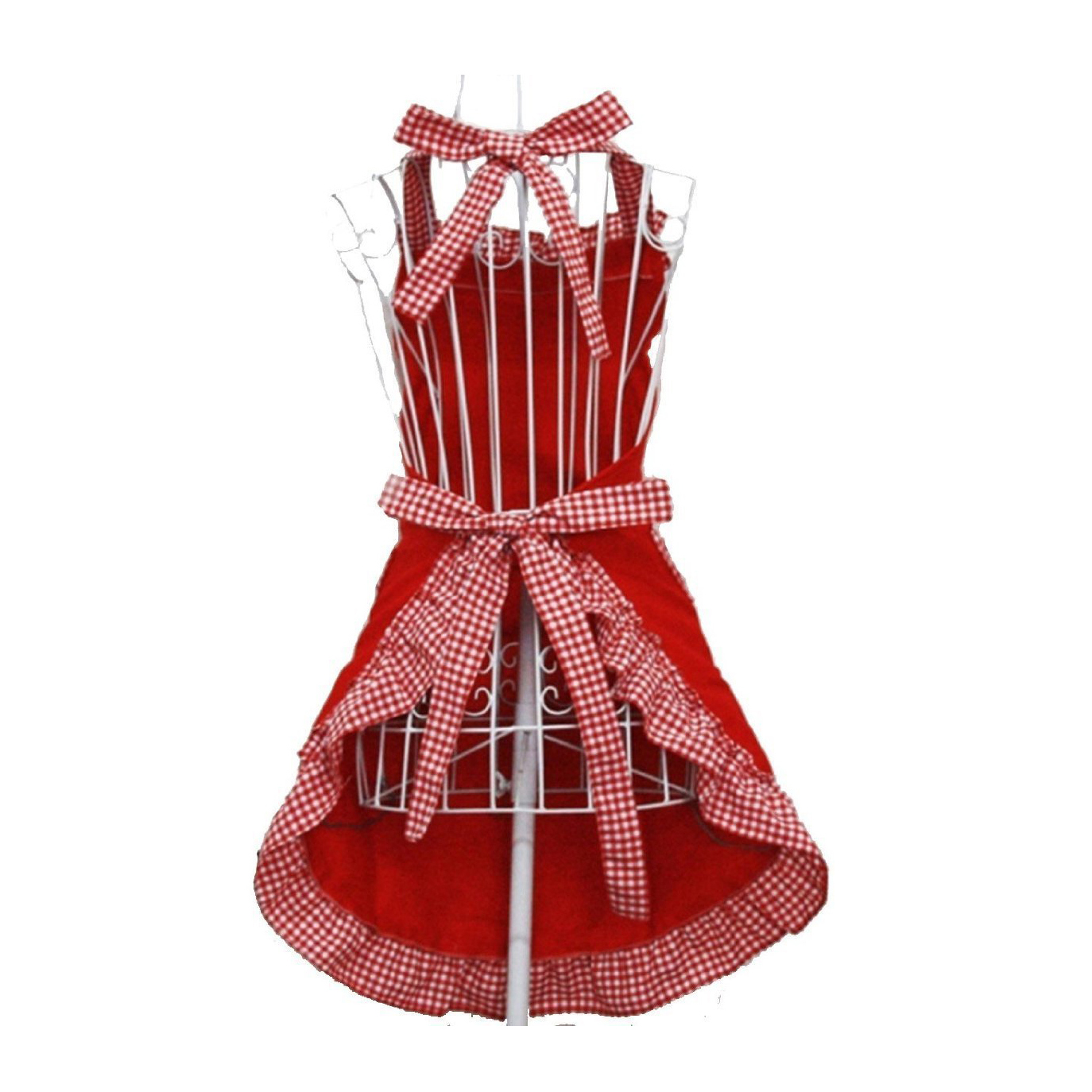 Lovely Princess Rural Style Working Chefs Kitchen Cooking Cook Womens Fancy Maid Set Apron With Bowknots Pockets Design Red