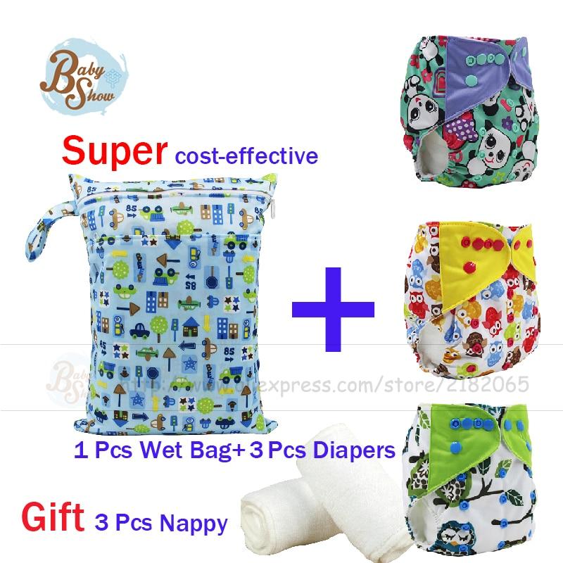 Newborn Baby Care 7Pcs Set 3Pcs Reusable Merries Diaper+1pcs 30*40 Double Pocket Wet Bag+3pcs 13.5*35cm Nappy Baby 7Pcs Gift Set