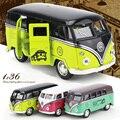 1:36 Klassieke Auto Speelgoed Volkswagen Bus Modellen Schaal Legering Bus Bread Double Door Mini Car ZEGT Speelgoed