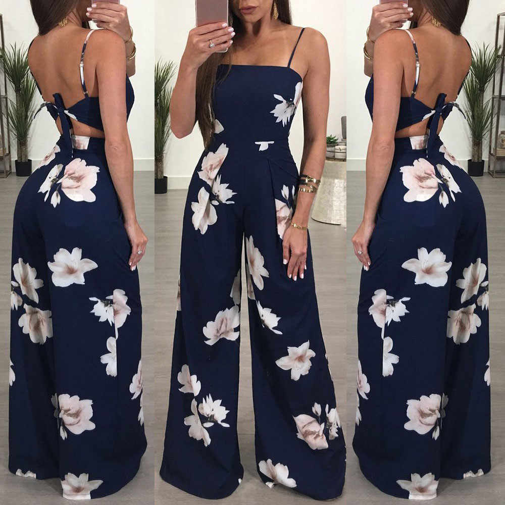 Elegant boho print Jumpsuit Women Floral vintage Playsuit office Ladies Clubwear Bodycon beach Party Trousers Mono Mujer#ss