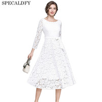 European Fashion Black White Lace Dress Women High Quality Sexy Hollow Out Evening Party Dresses Autumn