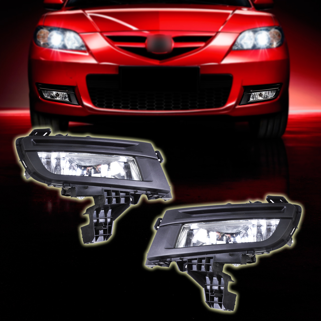beler High Quality ABS Pair Front Fog Light Lamp 9006 12V 51W for Mazda 3 2007 2008 2009 Replacement Without wiring harness citall 2pcs front left right side fog light lamp replacement kit 9006 12v 51w for mazda 3 2007 2008 2009 size 29cm x 12cm