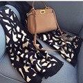 Зима Камень Зерна Леопарда Лошадь Распечатать Winter Черный Одеяло Шарф Большой Размер Бренд 100% Шерсть Шарф Женщин