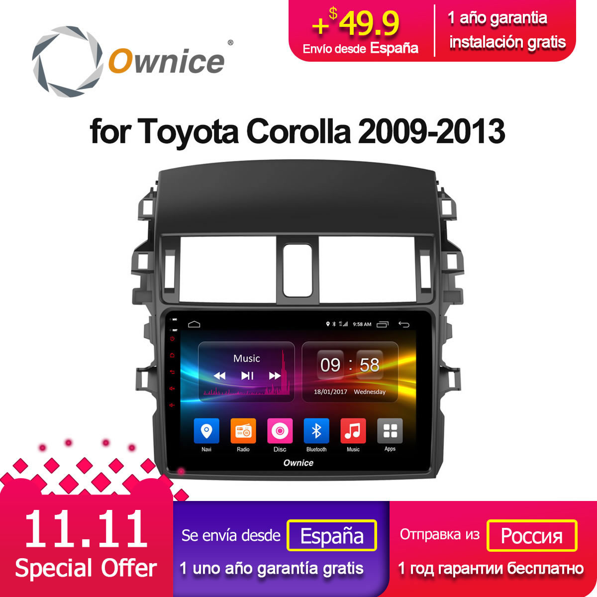 Ownice C500+ G10 Android 8.1 car DVD player Octa Core for Toyota corolla 2009 2010 2011 2012 2013 2GB RAM 32G ROM Support 4G LTE ownice c500 g10 octa core 2gb ram 32g rom android car dvd 8 1 gps for mazda 6 summit 2009 2015 wifi 4g lte radio dab dvr