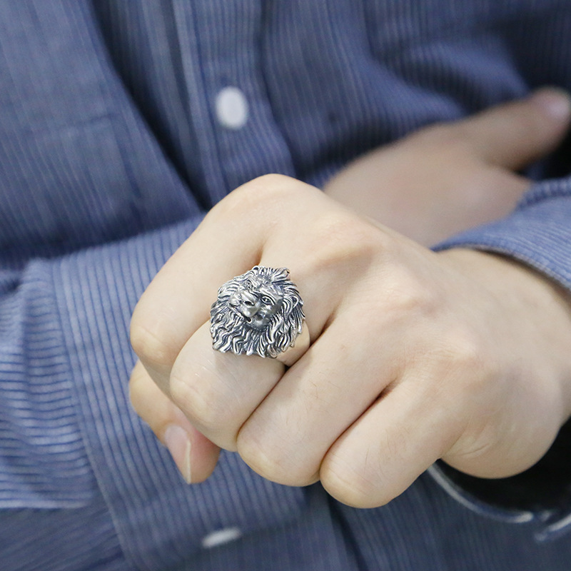925 argent sterling bijoux de mode hommes personnalité anneaux vintage Thai argent lion tête réglable anneau - 4
