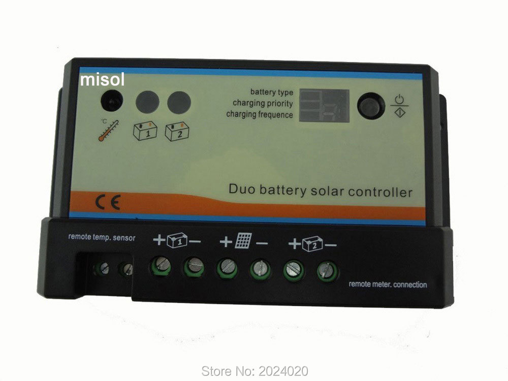 20A Duo-battery solar regulator, solar charge controller 12/24v, for two battery 20a daul battery solar charge controller duo battery charge controller 12v 24v solar panel battery charger for rv boats golf