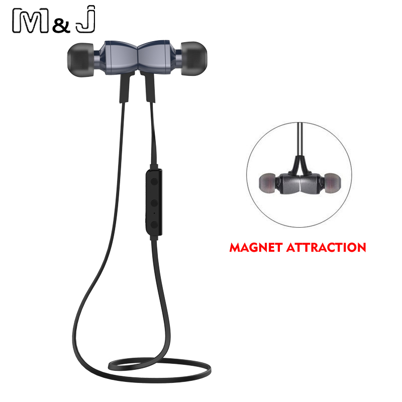 M&J M6 Stereo Wireless Bluetooth V4.1 Earphone Sports Running Magnetic Noise Cancelling Earpiece With Mic For Iphone Xiaomi sports stereo wireless bluetooth earphone headphones with mic noise cancelling running headset cordless earpiece for phone