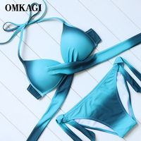 OMKAGI Brand Bandage Bikinis Set Swimwear Women Swimsuit Swimming Bathing Suit Beachwear Sexy Push Up Brazilian