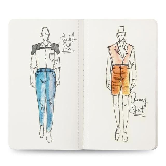 Mens Mini Neon Light Sketch Book Professional Fashion Design Body Templates Male