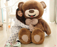 brown teddy bear, bowtie bear large 160cm smile bear plush toy hugging pillow surprised birthday gift h982