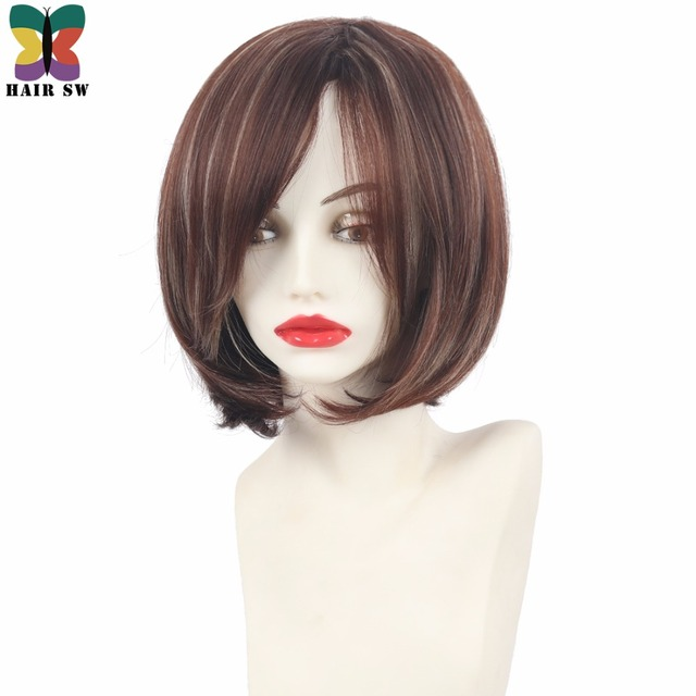 Hair Sw Short Angled Bob Natural Straight Synthetic Wig With Side