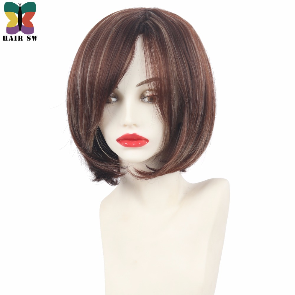 HAIR SW Short Angled Bob Natural Straight Synthetic Wig With Side Swept Bangs Fringe Brown Blonde Highlights Womens Wig