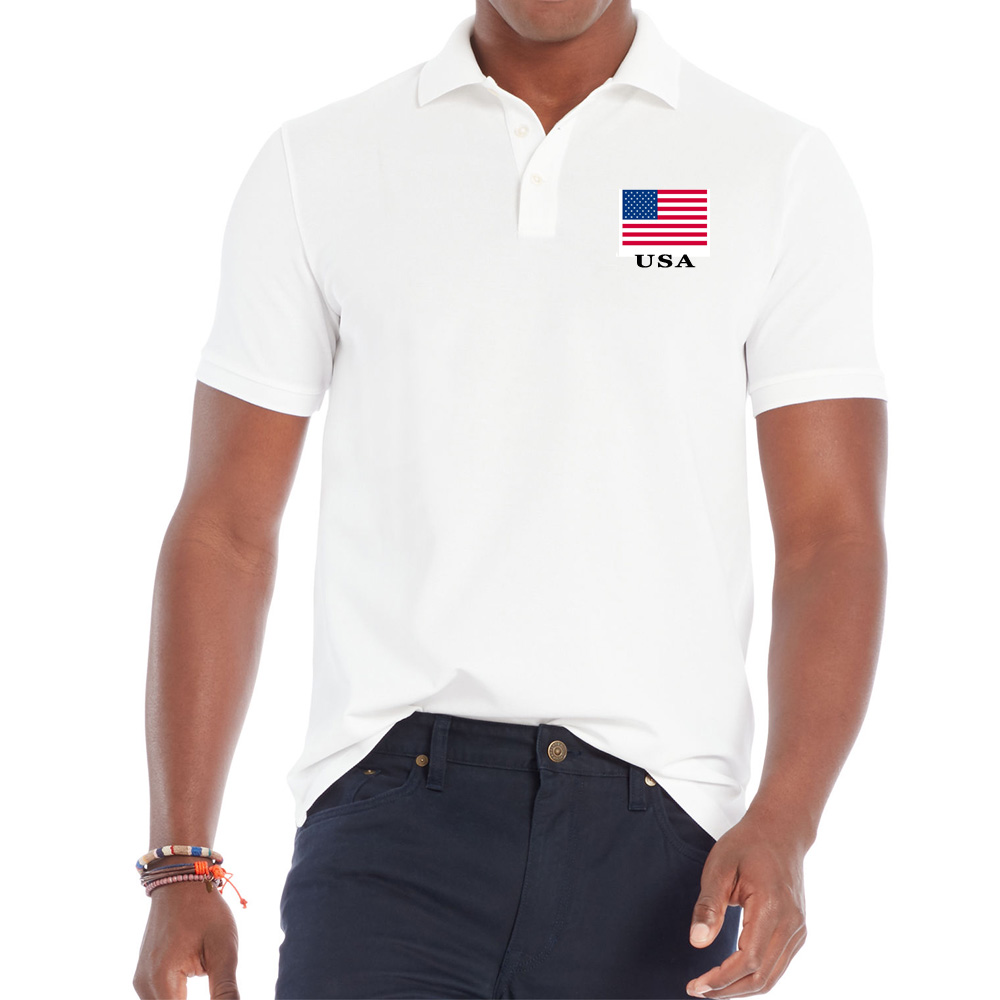 Mænds korte ærmer Turndown krave Shirt USA National Flag Udskrivning Pustende sommer Blød og behagelig T-shirt S-2XL