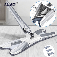 Adjustable Microfiber Floor Mop X-type Hand-free Wash 360 Spin Absorption Manual Extrusion Smart Handle Household Cleaning Tools