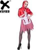 XCOSER 2018 Halloween Costume Zombie Petit Chaperon Rouge Femelle Cosplay Costume Femmes Cosplay Robe et À Capuchon Cape et Ceinture ensemble
