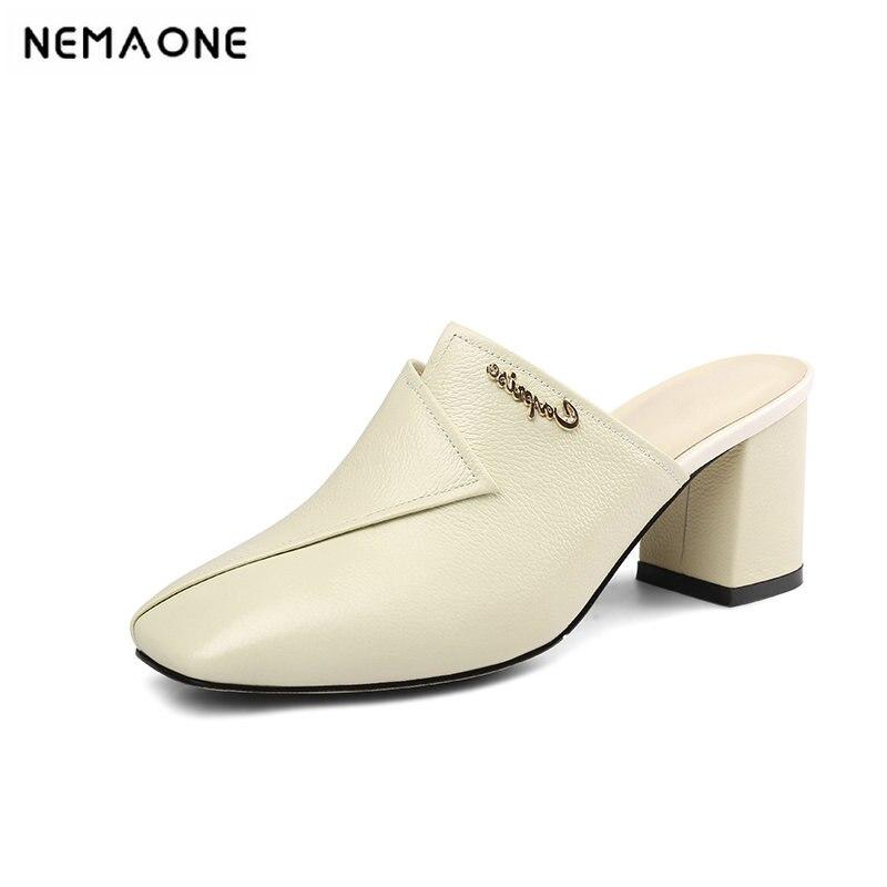 Nemaone Sommer Echtem Leder Schuhe Frau Mode Casual Sandalen Komfort Hausschuhe Weiß Schwarz Weibliche Sandalen