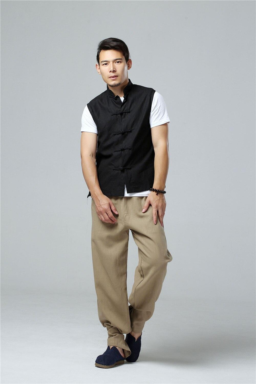 LZJN 2019 Men's Summer Waistcoat Chinese Style Vintage Breathable Linen Button Down Kung Fu Shirt Sleeveless Vest Jacket  (37)