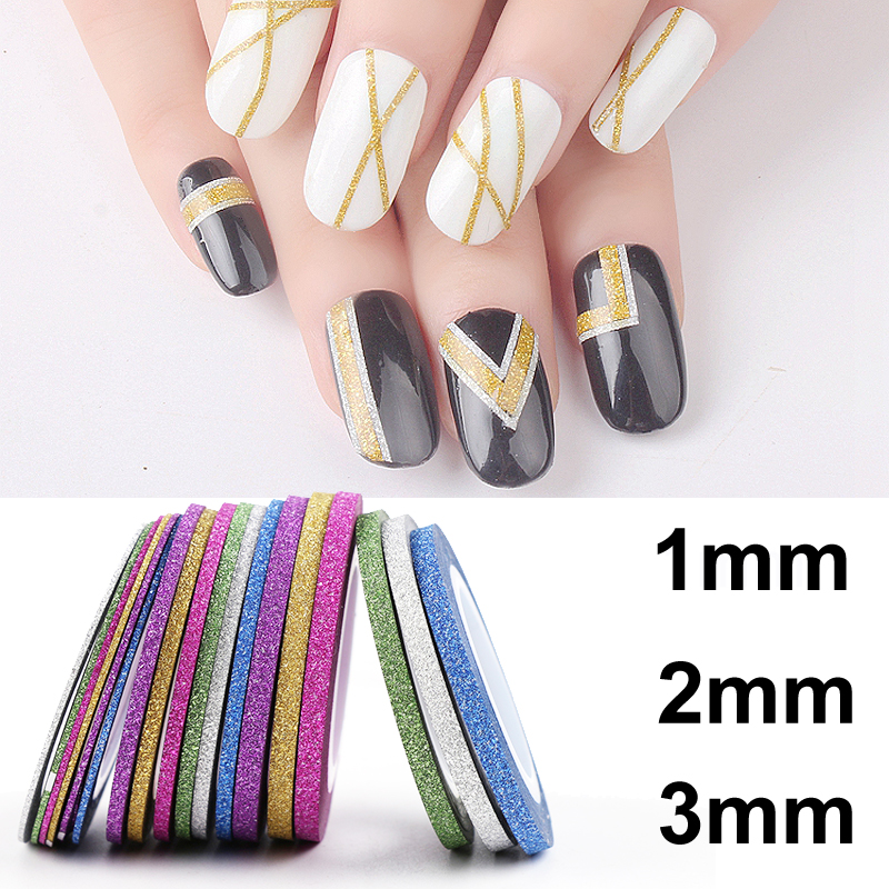 6Pcs/lot Mixed Colors Scrub Metal Gold Silver 1mm 2mm 3mm Nail Striping Tape Line For Nails Decorations DTY Nail Decal Tools 14 rolls glitter scrub nail art striping tape line sticker tips diy mixed colors self adhesive decal tools manicure 1mm 2mm 3mm