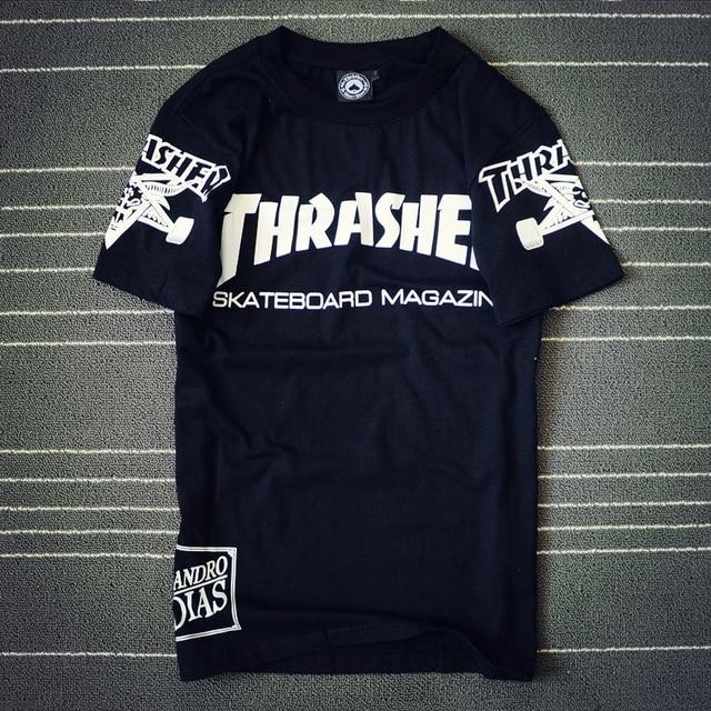 2017 Hip Hop T shirt Men Women t shirt Couple skateboard 77 thrasher T shirts Camisa Masculina t-shirts Men  Tee shirts