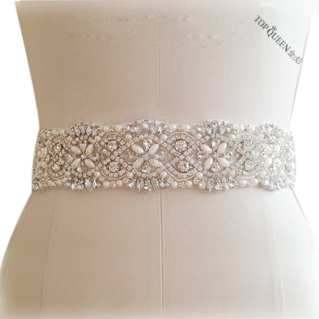 TOPQUEEN S04B Women's Rhinestones Crystals Bridal Bride Waist Wedding Belts Sashes Accessories For Evening Party Gown Dresses