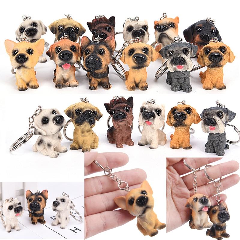 3D Resin Cute Dog Key Chain For Lovers Animal Keyring Key Ring Holder Pom Gift For Women Girl Bag Charms Keychains For Car