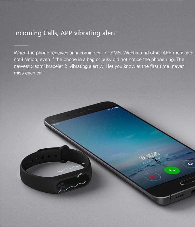 Oryginalny xiaomi mi kompania 2 miband bransoletka wistband inteligentnego tętno fitness ekran oled wyświetlacz dla iphone 7 touchpad bluetooth 22