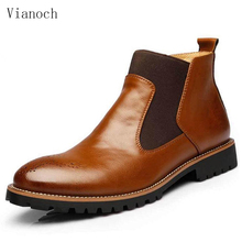 Fashion New Mens Dress Shoes Bussiness Ankle Boots Slip On Vintage Leather Brogue Hightops Man Size 45 46 men0035