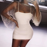 Temperament Luxury Glitter Metal Sexy Dress Fishnet Christmas Vestido White Lace Sequin Dresses Women Long Sleeve Party Dress