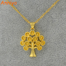 Anniyo Tree of Wealth Pendant Necklace Chain Woman,Gold Color Jewelry Girls,Money Tree Great and Delicate Gifts