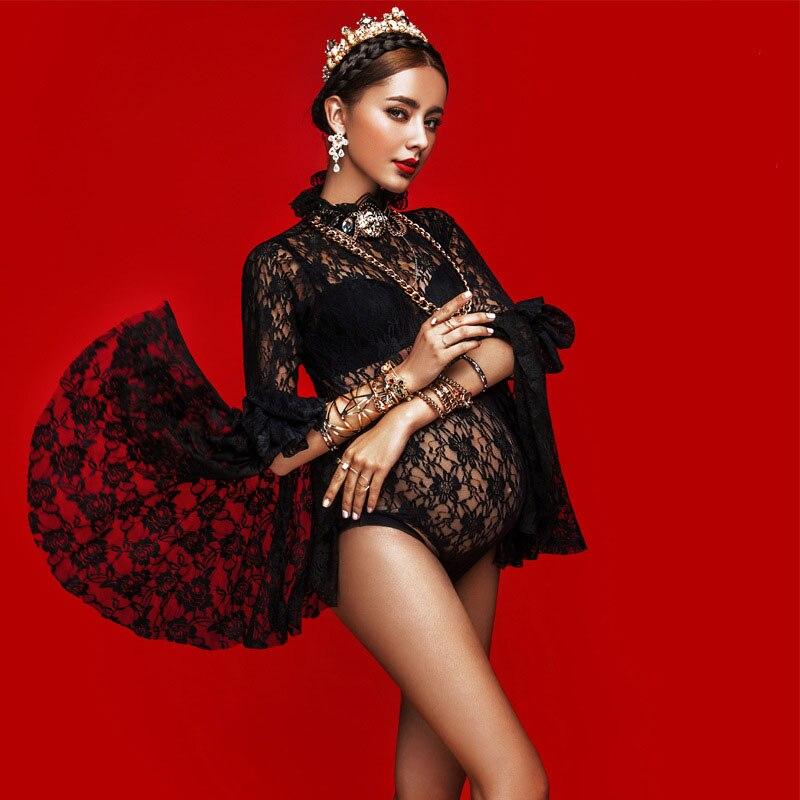 Macierzyństwo Czarne koronkowe Romper Fotografia Rekwizyty Kobiety w ciąży suknia Baby Showers Ciąża Zdjęcie Zdjęcie Strzelać Body Odzież