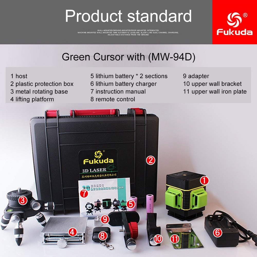 3D Green Laser Level with Free Lifting Platform 12 Line MW 94D Vertical and Horizontal Laser