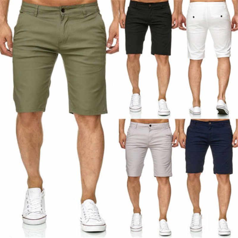 Gorący męska Slim Fitness jednolity kolor spodenki dorywczo mundurze pracy połowa Pant lato Jean plaży bawełniane spodenki Baggy spodni krótki spodnie