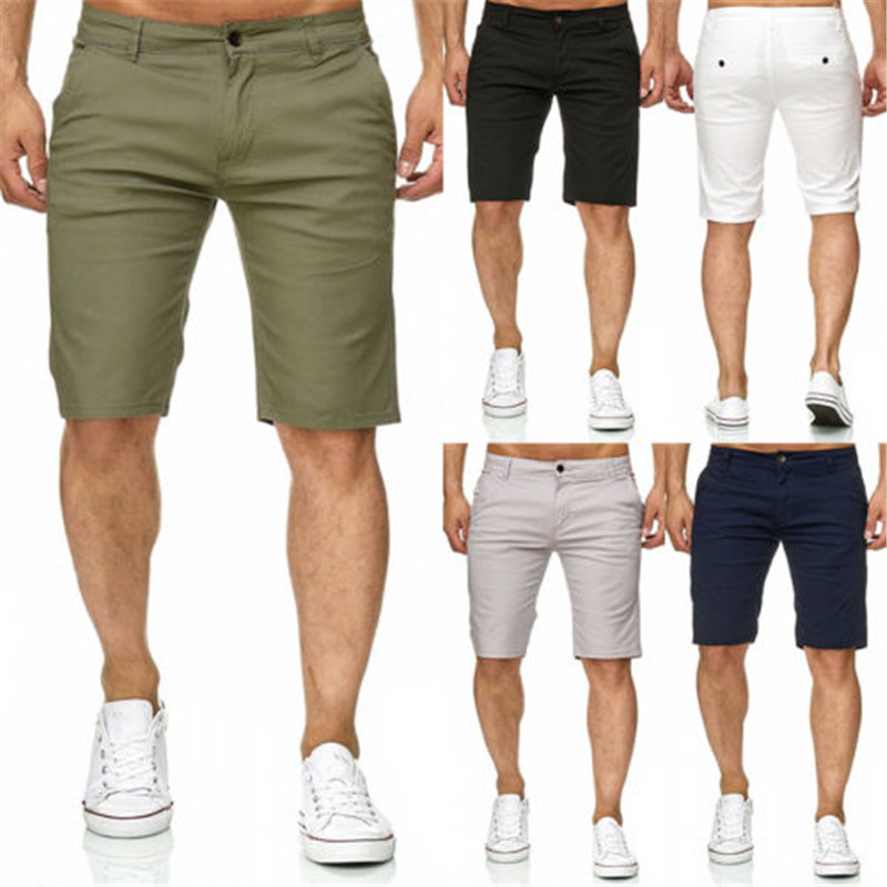 Hot Men Slim Fitness Solid Color Shorts Casual Work Uniform Half Pant Summer Jean Beach Cotton Shorts Baggy Trouser Short Pants