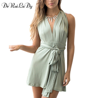 DeRuiLaDy Women Summer Dress Deep V Collar Off Shoulder Sleeveless Backless Waist Band Dresses Casual Sexy