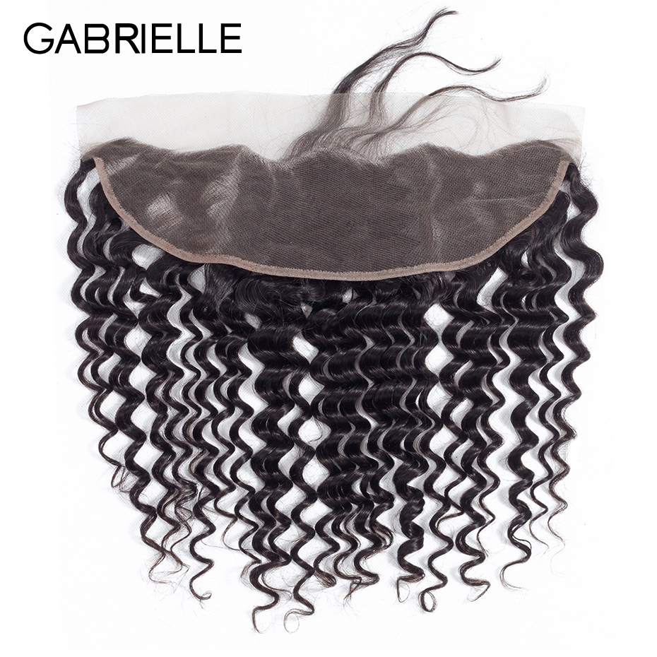 Gabrielle Peruvian Deep Wave Hair 13x4 Lace Frontal Closure Free/Middle/Three Part Natural Color 100% Non Remy Human Hair 8-22