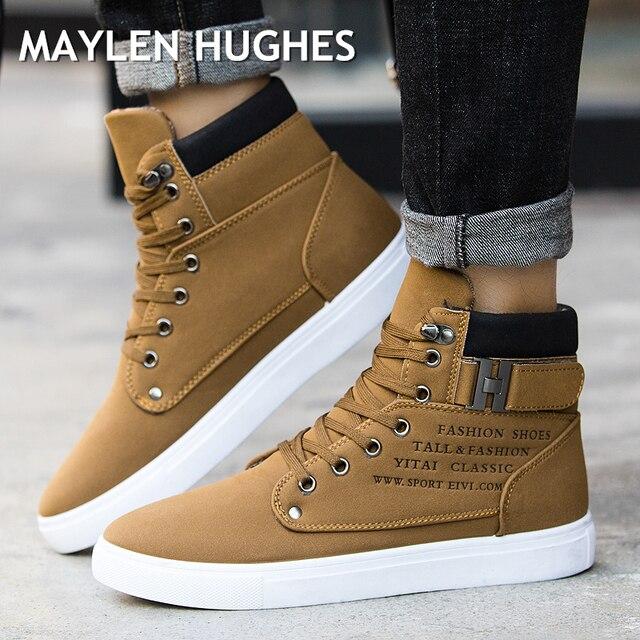 2018 Sıcak erkek ayakkabısı Moda Sonbahar Kış Erkekler Kar Botları Deri Ayakkabı Adam Için Yeni Yüksek Üst Tuval rahat ayakkabılar Erkekler sneakers