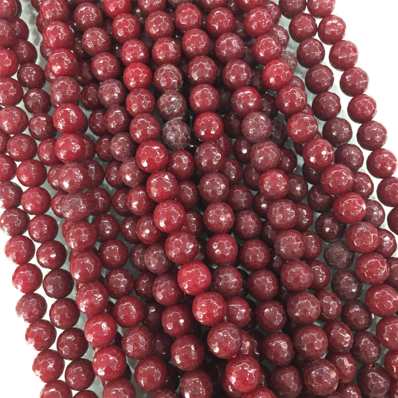 """Natural 6-8-10mm Faceted Brazil Red Ruby Gemstones Loose Beads 15/"""" AAA++"""