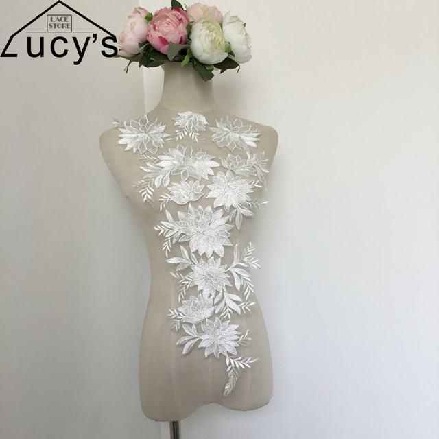 Light ivoryoff white flowers lace patches 1 piece 325x57cm for light ivoryoff white flowers lace patches 1 piece 325x57cm for wedding gowns girls mightylinksfo