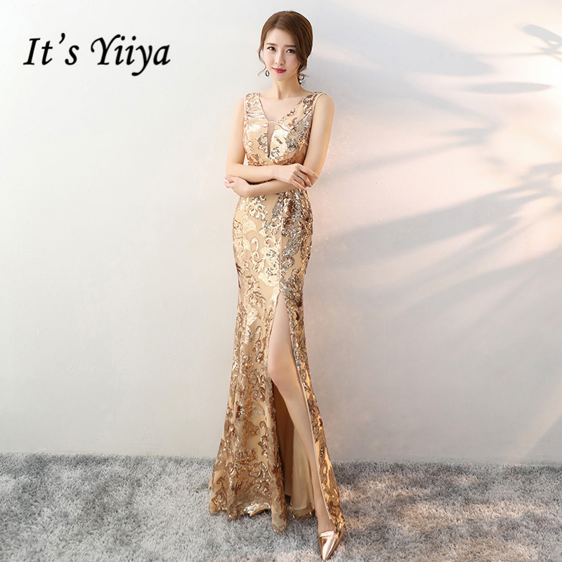 It's YiiYa   Evening     Dresses   Sexy V-neck Sleeveless Trumpet Formal   Dress   Royal Sequined Zipper back Mermaid Party Gowns E373