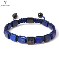 Handmade 8mm Square Lapis Beads Macrame Bracelet Blue Lapis Lazuli Beads Braided Adjustable Bracelet Square Beads Men Jewelry
