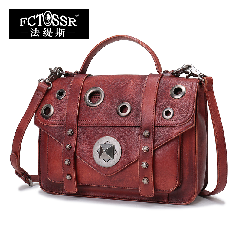 2018 New Arrival Genuine Leather Women Handbag Retro Female Shoulder bag Metal Decoration Handmade Flap Crossbody Bags Purse genuine leather studded satchel bag women s 2016 saffiano cute small metal rivet trapeze shoulder crossbody bag handbag