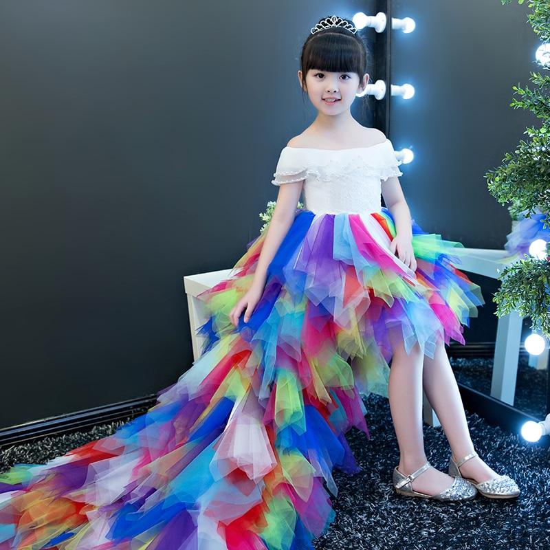 European Luxury Children Girls Fashion Colorful Princess Dress With Long Trailing Kids Luxury Birthday Wedding Feathers Dresses