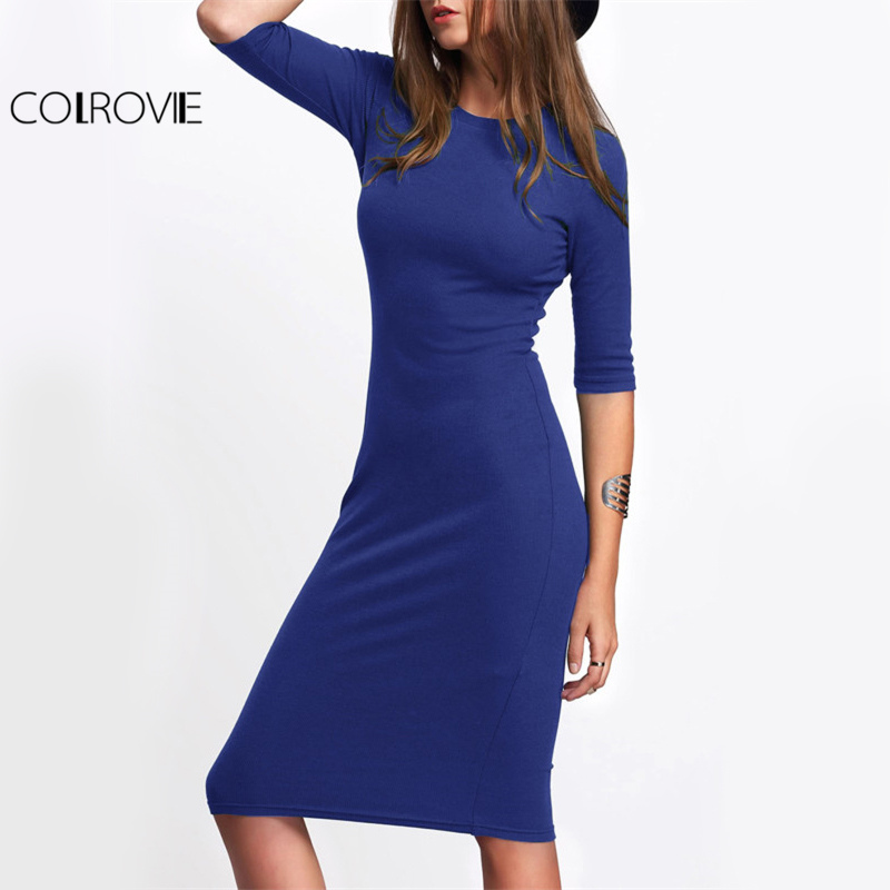 COLROVIE Basic Slim Casual Tee Dress 2017 Royal Blue Elegant Women Bodycon Work Midi Dresses Fashion New Half Sleeve Solid Dress
