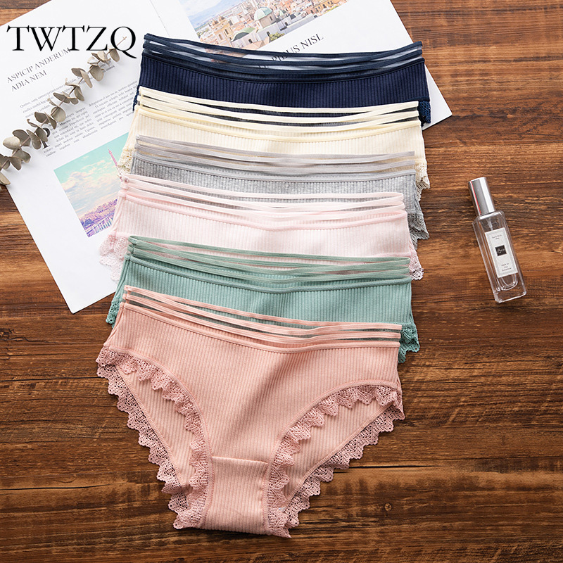 TWTZQ M-L Soft Sexy Lingerie Girl   Panties   For Women Cotton Fashion Lace Underwear Ladies Tanga Female Casual Briefs