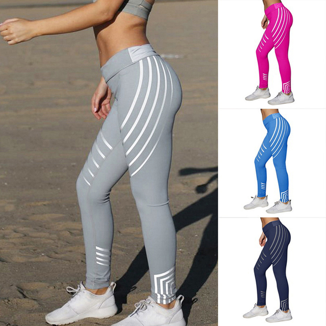 Slim Fitted Striped Printed Mesh Yoga Leggings