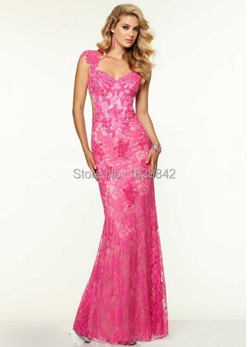 Free shipping purple red gold pink blue lace evening dress evening ...