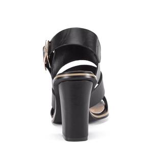 Image 3 - GENSHUO Women Sandals Gladiator Black Buckle Strap Sandals for Women Chunky Heels Summer Shoes Ladies Block Heel White Sandals