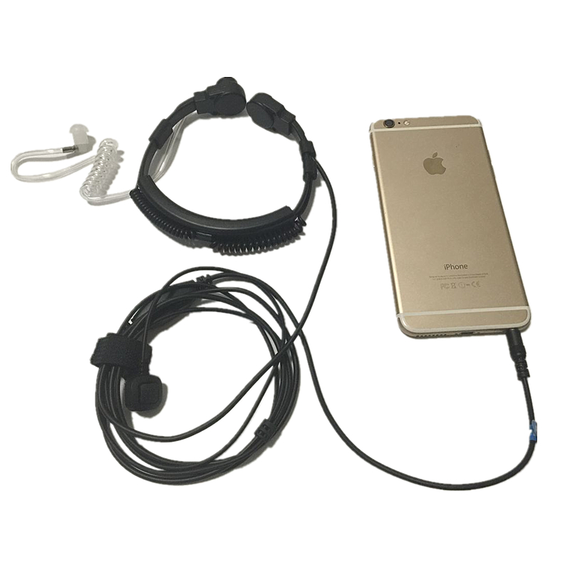 Flexible Throat Mic jack 3 5mm Microphone Covert Acoustic Tube Earpiece Headset for Iphone android