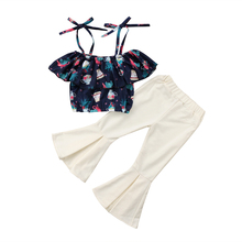 Stylish Toddler Kids Baby Girl Summer Clothes Off Shoulder Floral Tops Flare Long Pants Outfits Sleeveless Sunsuit Clothing Sets